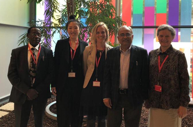 Vlnr: Narcis Kabatereine (Vector Control/Ugandan ministry of health), Eunjee Kim (Texas Tech University), Meta Roestenberg (LUMC), prof. Afzal Siddiqui (Texas Tech University), prof. Alison Elliott (Londen School of Hygiene and Tropical Medicine)