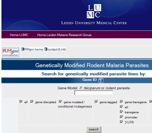 database of genetically modified rodent malaria parasites